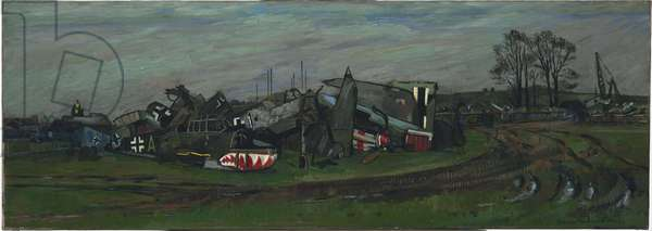 Graveyard: No 1 Metal and Produce Recovery Depot, Morris Works, Cowley, Oxford, 1940 (oil on canvas)