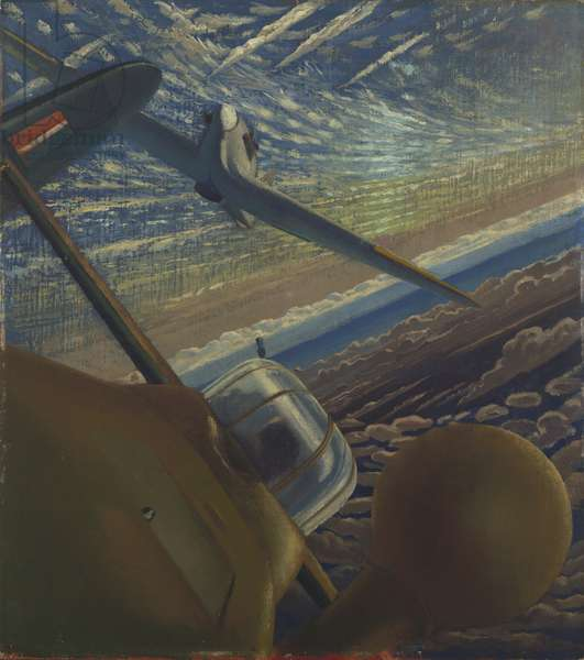 Fighter Affiliation: Halifax and Hurricane aircraft co-operating in action, 1943 (oil on canvas)