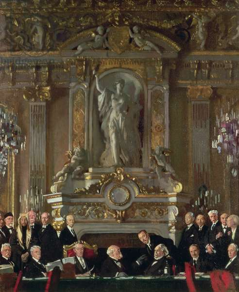 Peace Conference at the Quai d'Orsay, 1919 (oil on canvas)