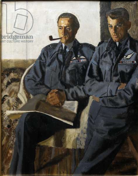 Group Captain P C Pickard, DSO and two bars, DFC and Flight Lieutenant J A Broadley, DSO, DFC, DFM, 1944 (oil on canvas)