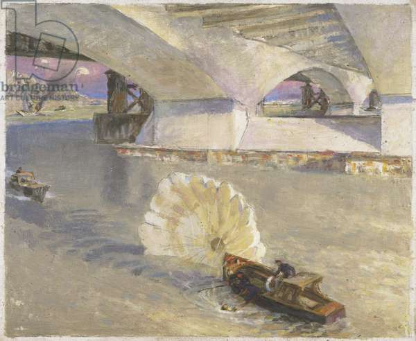 War-time traffic on the river Thames: River Police at Waterloo Bridge during the Battle of Britain, 1942 (oil on panel)