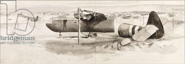 Gliders of the 6th Airborne Division which landed East and West of the River Orne, 6th June 1944 (w/c on paper)