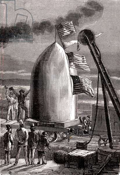 """The giant gun projectile arrived at Stone's Hill to be fired to the Moon, """"From the Earth to the Moon"""" by Jules Verne, 1865"""