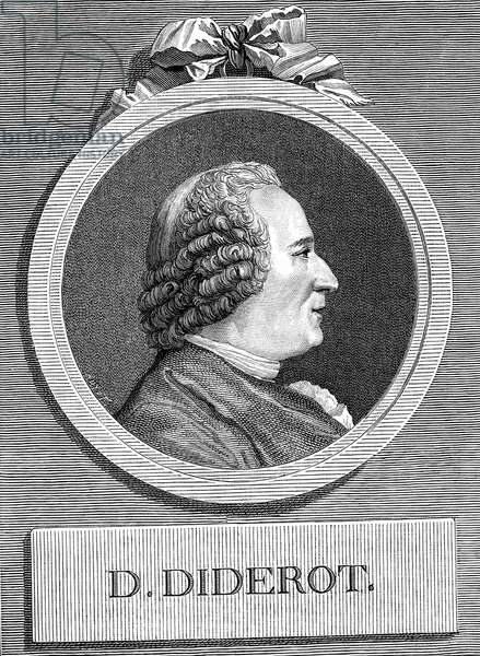 Portrait of the French writer and philosopher Denis Diderot (1713-1784) engraving of 1878