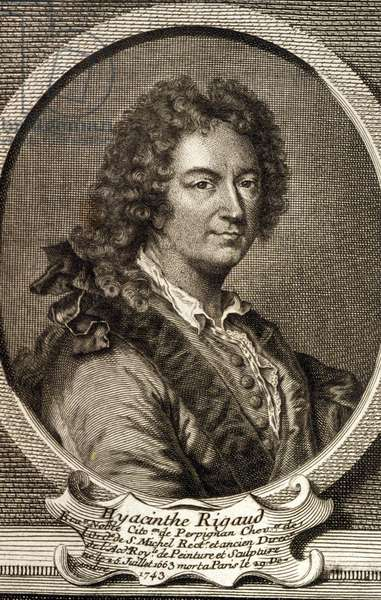 Portrait of Hyacinthe Rigaud (1659 - 1743), French painter, portraitist attitle by Louis XIV. Engraving of the 18th century.