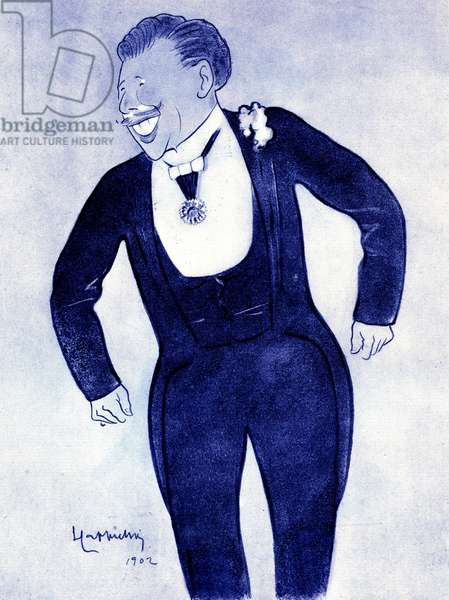 Cartoon depicting the actor Alexander Honore Ernest Poppy (1848-1909) Drawing by Leonetto Cappiello (1875-1942) 1902
