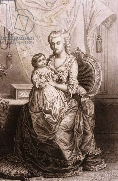 Portrait of Marie Antoinette (1755-1793), Archduchess of Austria and Queen of France. Engraving of the 19th century.