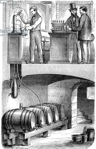 Pump to pull beer in 1876: Pump load with carbon acid gas from Hermann - Lachapelle engraving from 1876