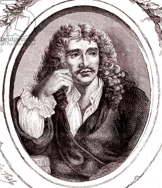 Jean Baptiste Poquelin MOLIERE, french poet and playwriter, 1865 (engraving)