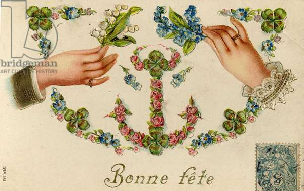 Greeting card depicting hands holding thrush and violets. The beginning of the 20th century. Coll. Jaime Abecasis