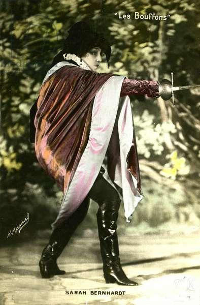 """Henriette Rosine Bernard called Sarah Bernhardt (1844-1923) in the play """""""" Les bouffons"""""""", 1905"""