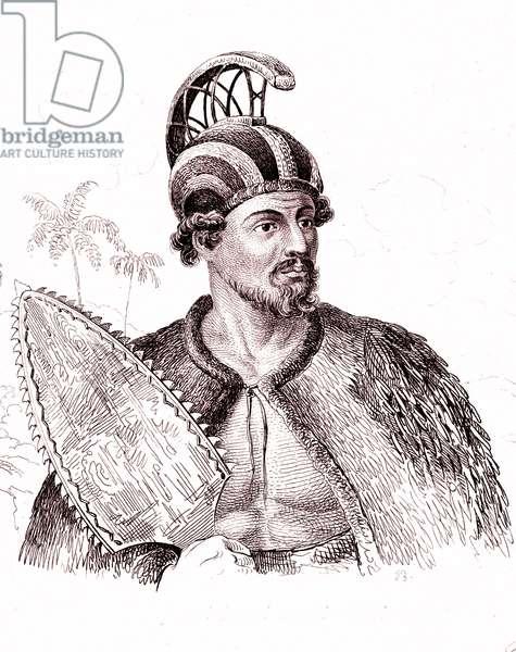 Warrior of Hawaii, Oceania, Pacific. Engraving 1834