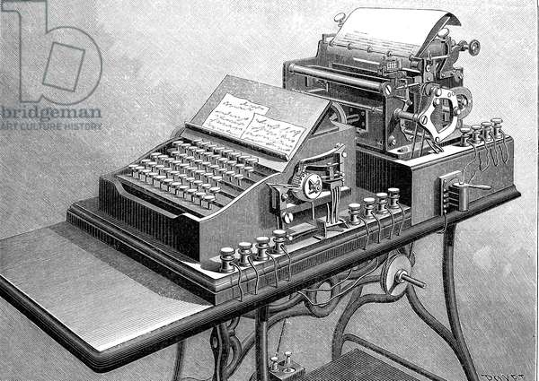 Telescriptor (printer telegraph) of Havas agency, 1895. At the front, the transmission machine and at the rear, the control receiving machine. Engraving 1895