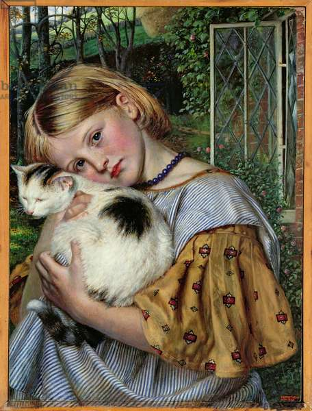 A Girl with a Cat, 1860 (panel)