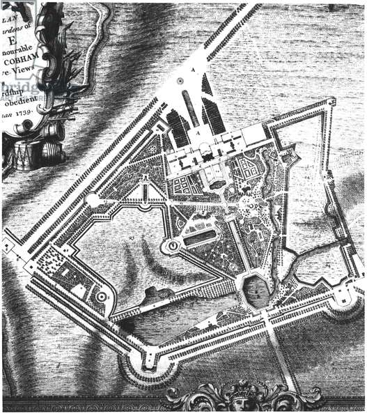 Charles Bridgeman's (fl.1713-38) plan for Stowe Gardens, from a book on views of Stowe published by Mrs Charles Bridgeman in 1739 (engraving) (b/w photo) (see 140583 for William Kent's later plan)