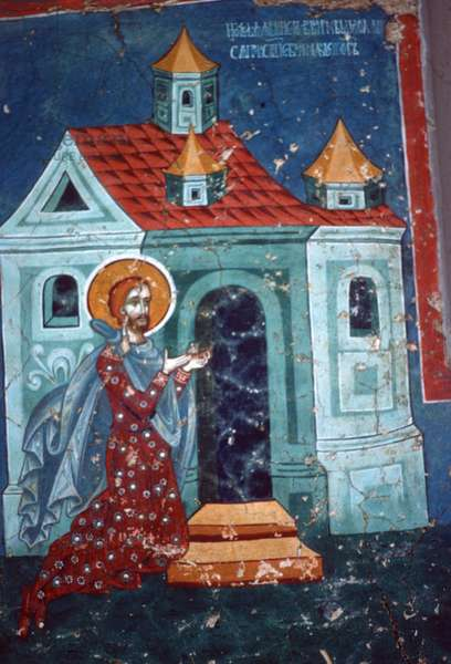 St. Nicetas praying in front of a church (fresco)