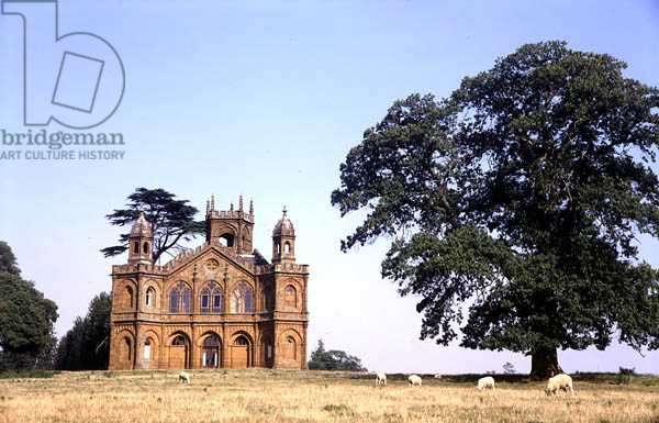 View of the Gothic Temple, Stowe Landscape Gardens, Buckinghamshire, from the West (photo) (see also 137194-5)