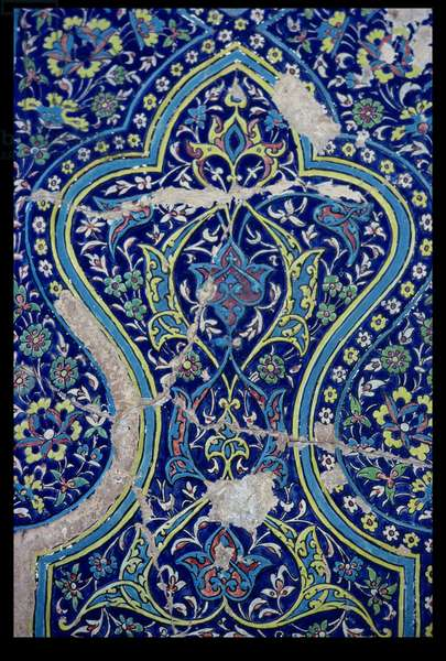 Floral decorative panel in the Mausoleum of Usto-Ali, Timurid period, c.1404-05 (glazed tile)