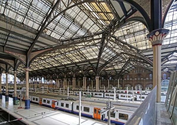 View across the train shed from the south west, Liverpool Street Station (photo)