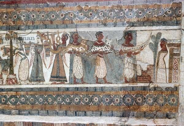 Detail, fresco on sarcophagus from Hagia Triada (photo)