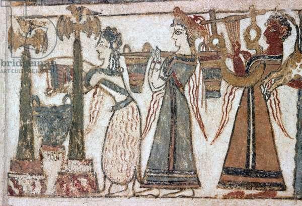 Detail, fresco on sarcophagus from Hagia Triada (fresco)