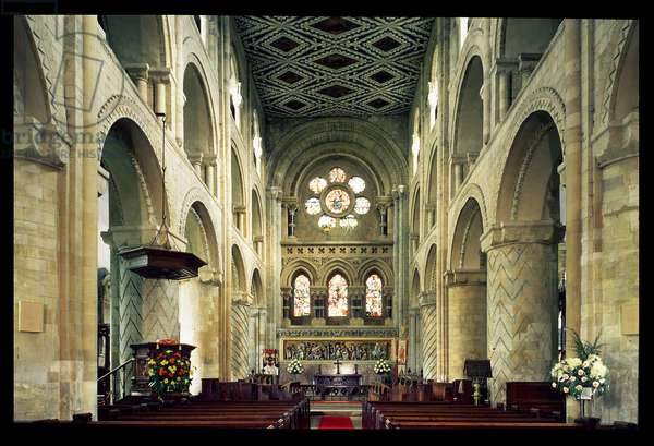 View of the nave of the abbey church, Waltham Abbey, Essex (photo)