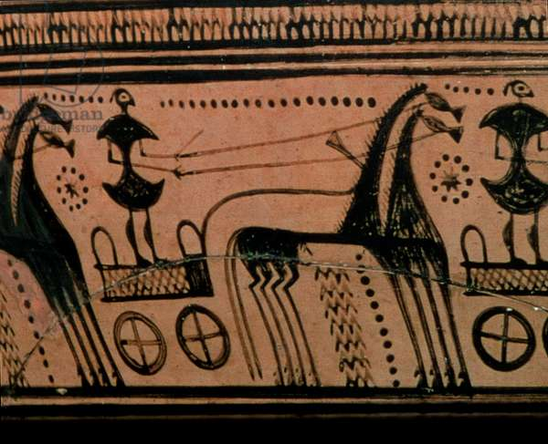 Urn depicting a charioteer, Geometric (ceramic) (detail of 54676)