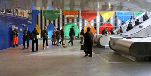 Daniel Buren mosaics in Tottenham Court Road tube station, London (photo)