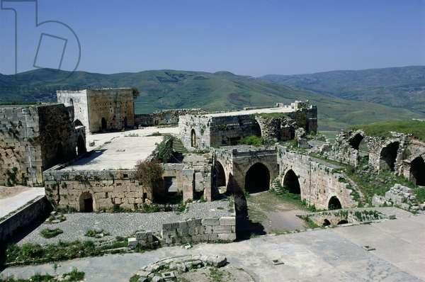 View of the castle of Krak des Chevaliers from the dungeon, built c.1143 (photo)