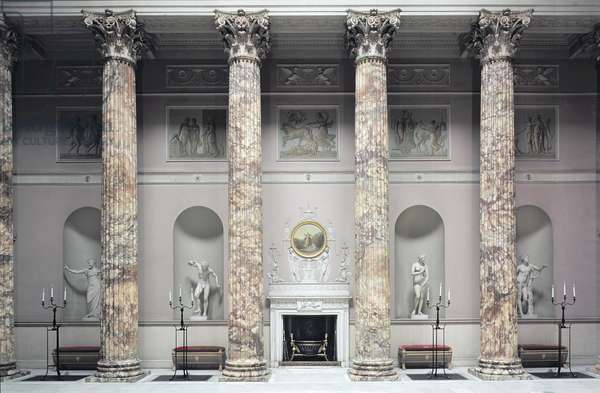 Kedleston Hall, Interior of the Marble Hall, built by Robert Adam (1728-92), Derbyshire, UK(photo)