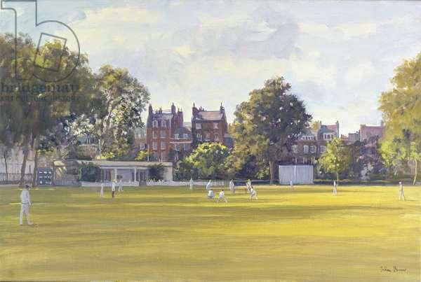 Cricket at Burton Court (oil on canvas)