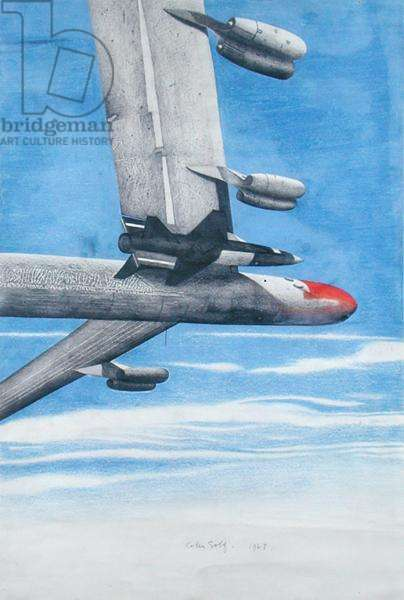 B-52 Bomber, 1963 (pencil and colour on paper)