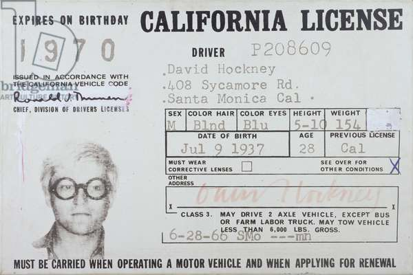 David Hockney's (b.1937) Driving License, 1969 (oil on canvas)