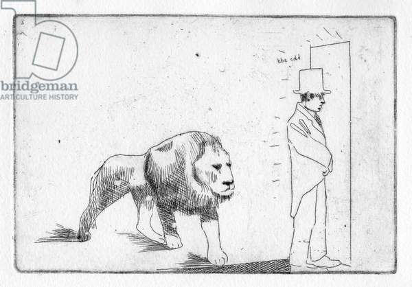 """Ugh, the cold,"" he shuddered. A lion heard and stayed within, 2011 (etching)"