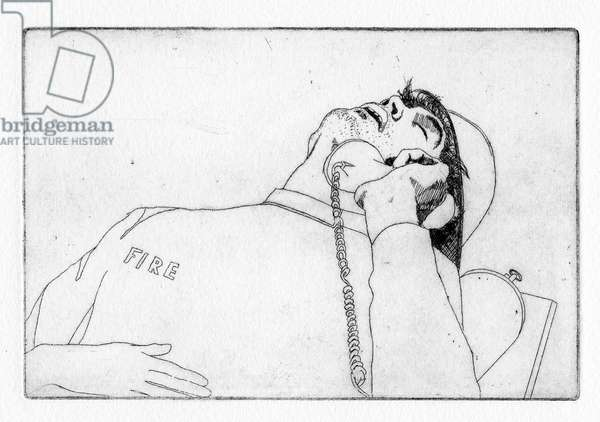 So calming was his company that once, while summoning the fire brigade, Ambrose was met with snoring, 2011 (etching)