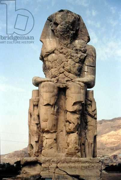 One of the Colossi of Memnon, statues of Amenhotep III, c.1375-1358 BC (photo)