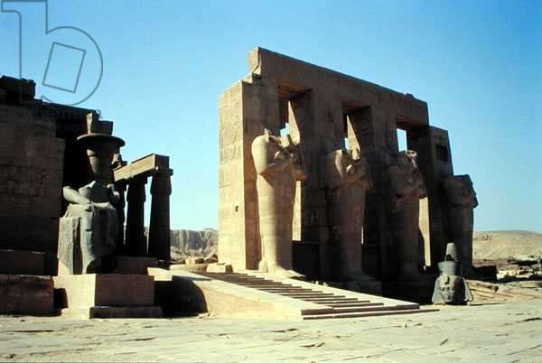 Osiride figures of Ramesses II (1279-1213 BC) flanking the walls of the Second Court, New Kingdom, (photo)