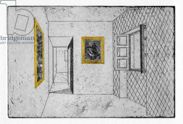One day, Paul gilded all the picture frames in his house, 2011 (etching with gold leaf)