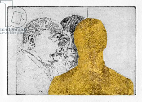Friends were calling, and Paul felt immediately happy, 2011 (etching with gold leaf)
