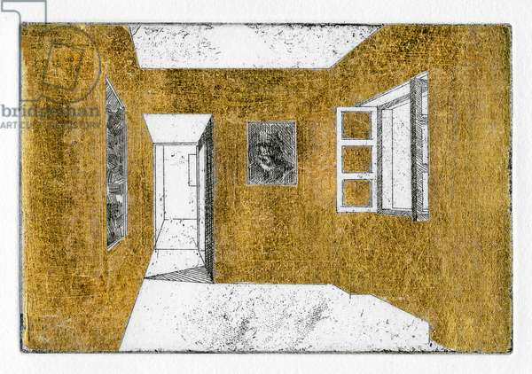 It wasn't quite right, so he gilded the walls too, 2011 (etching with gold leaf)