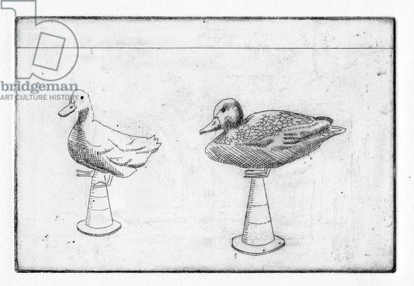 Hieronymus sought comfort by feeding the ducks. But they would only jump on cones, 2011 (etching)