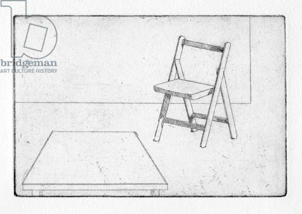 In the kitchen he mused: something was wrong, 2011 (etching)