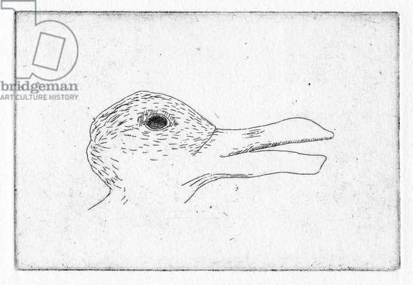Or hold their beaks open (as if waiting for Hieronymus to place his head there), 2011 (etching)