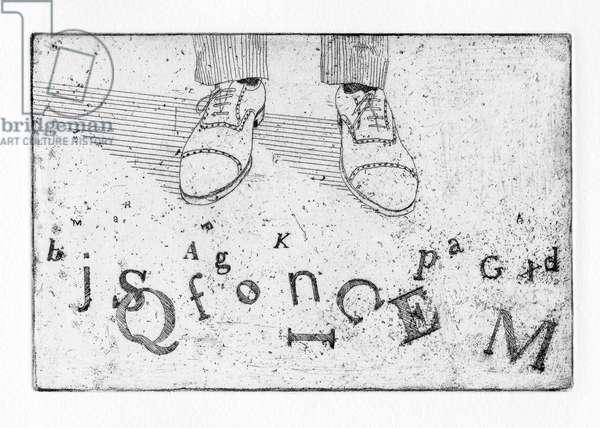 Alfred's words were broken, 2011 (etching)