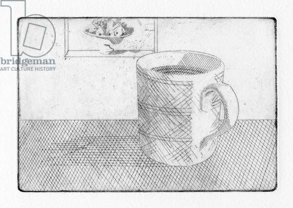 "He arrived quite dry. ""I have of late grown tired of taming,"" Hironymus bellowed over a trembling tea. He wondered whether there might be a cure, 2011 (etching)"