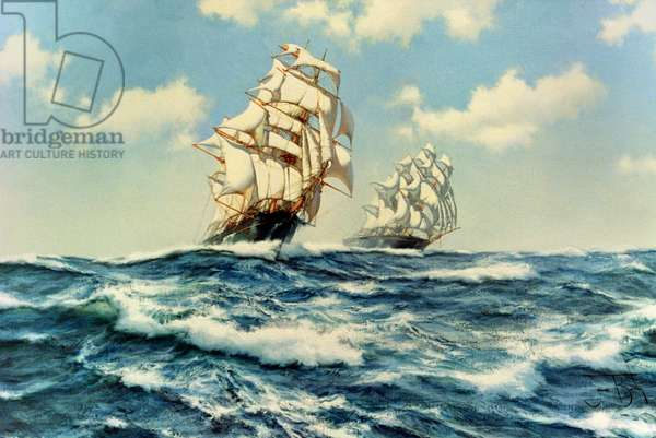 The China Tea Run, Clippers 'Ariel' and 'Taeping', c.1993 (oil on canvas)