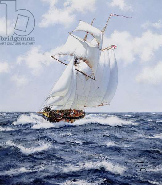 The Schooner 'H.M.S. Pickle', c.1992 (oil on canvas)