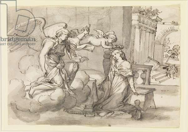 The Annunciation, c.1650 (pen & black ink & grey wash)