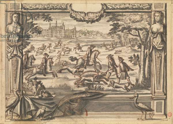 Tapestry Design with a boar hunt in front of the Chateau de Chambord, c.1670 (pen and brown ink, brown and grey wash)