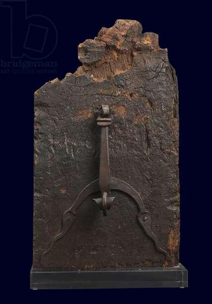 Door knocker, c.1600 (wrought iron on oak)